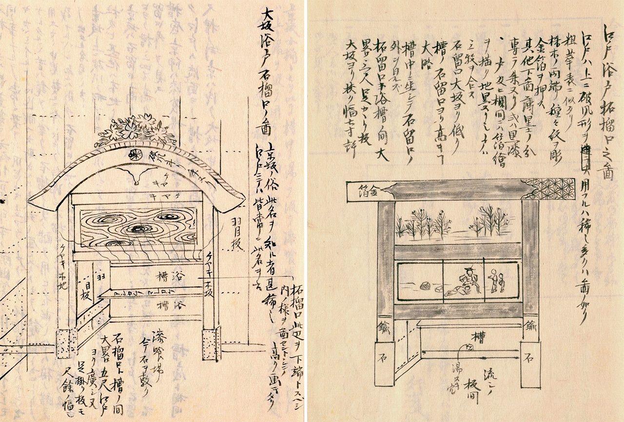 大阪(左)和江戶(右)石榴口設計的不同 (圖片:《守貞漫稿》國立國會圖書館藏)