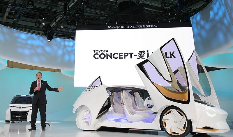 Toyota Motor Corp. Executive Vice President Didier Leroy presents the Concept-i electric vehicle to the media during the 2017 Tokyo Motor Show at the Tokyo ...