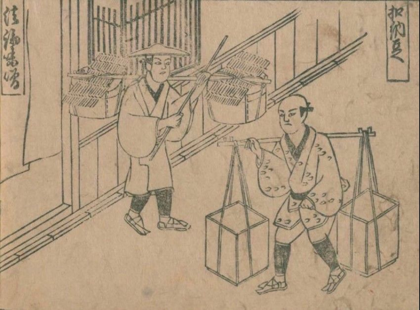 A scene from the 1690 work Jinrin kinmō zui (an illustrated encyclopedia of humanity) depicting a street vendor (foreground) selling tataki nattō, fermented beans mixed with tōfu and pickled vegetables. (Courtesy of the National Diet Library)