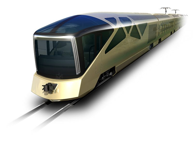 A rendering of the exterior of JR East's newly planned cruise train. The train is scheduled to begin service in spring 2017. (Image courtesy of JR East.)