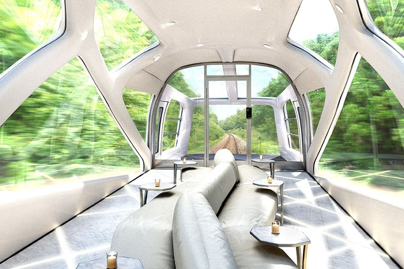 The planned interior of the observation deck on JR East's new cruise train. (Image courtesy of JR East.)