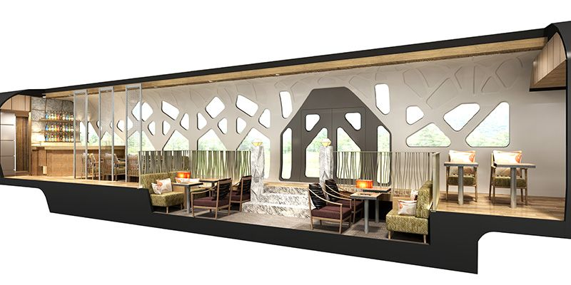 A rendering of the interior of the lounge car on JR East's new cruise train. (Image courtesy of JR East.)