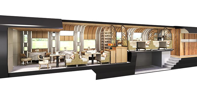 A rendering of the interior of the dining car on JR East's new cruise train. (Image courtesy of JR East.)