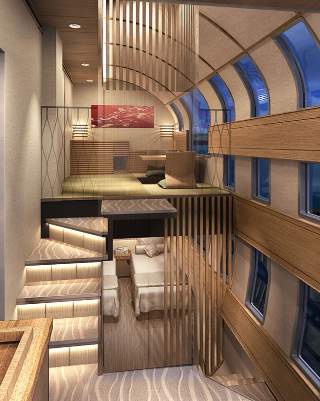 The planned interior of a deluxe suite on JR East's new cruise train. (Image courtesy of JR East.)