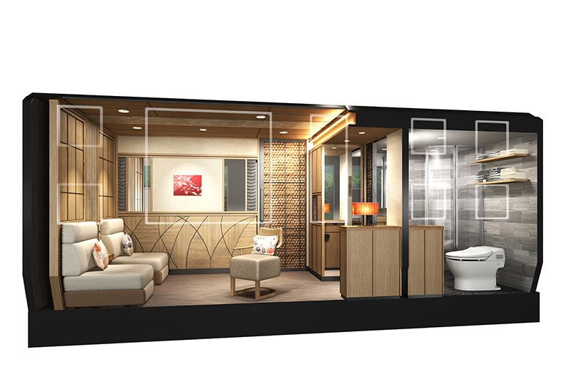 A rendering of the interior of a suite room on JR East's new cruise train. (Image courtesy of JR East.)
