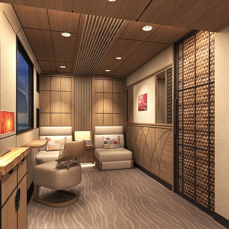 The planned interior of a suite room on JR East's new cruise train. (Image courtesy of JR East.)