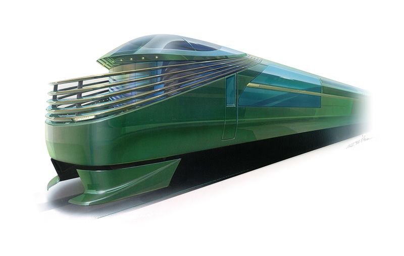 A rendering of the exterior of JR West's newly planned sleeper train. The train is scheduled to begin service in 2017 and will link the Osaka, Kyoto, and Kobe with the San'in and San'yō regions. (Image courtesy of JR West.)