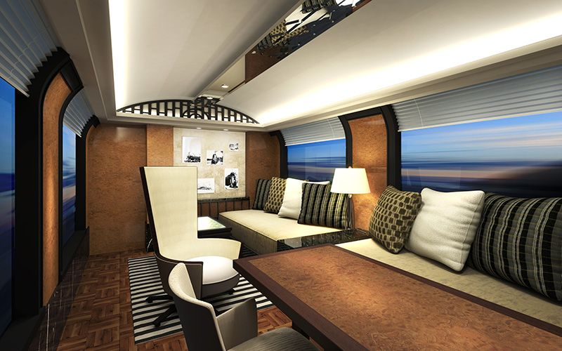 A rendering of the interior of the top-of-the-line suite's living room on JR West's new sleeper train. (Image courtesy of JR West.)