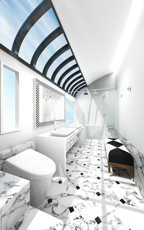 A rendering of the bathroom in the top-of-the-line suite on JR West's new sleeper train. (Image courtesy of JR West.)
