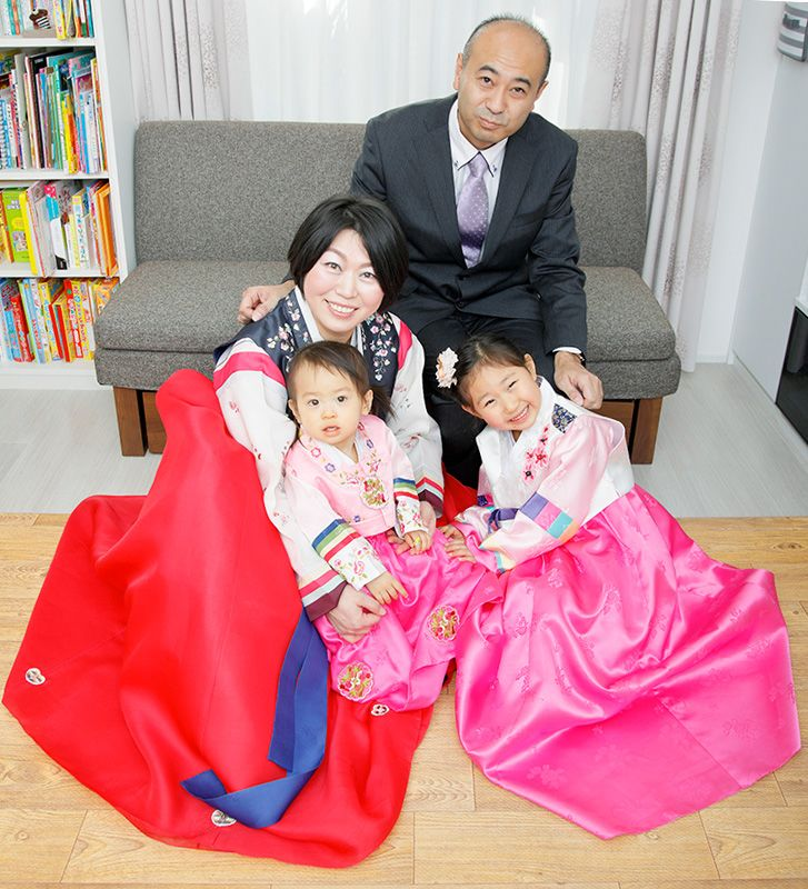 be7642a25 Shūhei poses with his wife Hyun-jung and two daughters dressed in traditional  Korean chima jeogori.