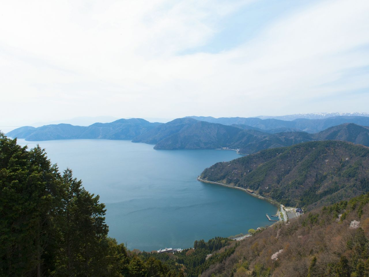 Shizugatake, site of a battle hundreds of years ago, overlooks the northern part of Lake Biwa.