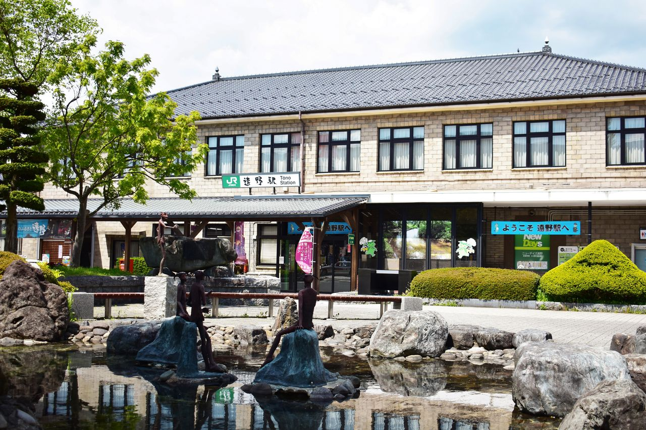 Outside JR Tōno Station is the Kappa Pond, with four kappa statues positioned to welcome visitors.
