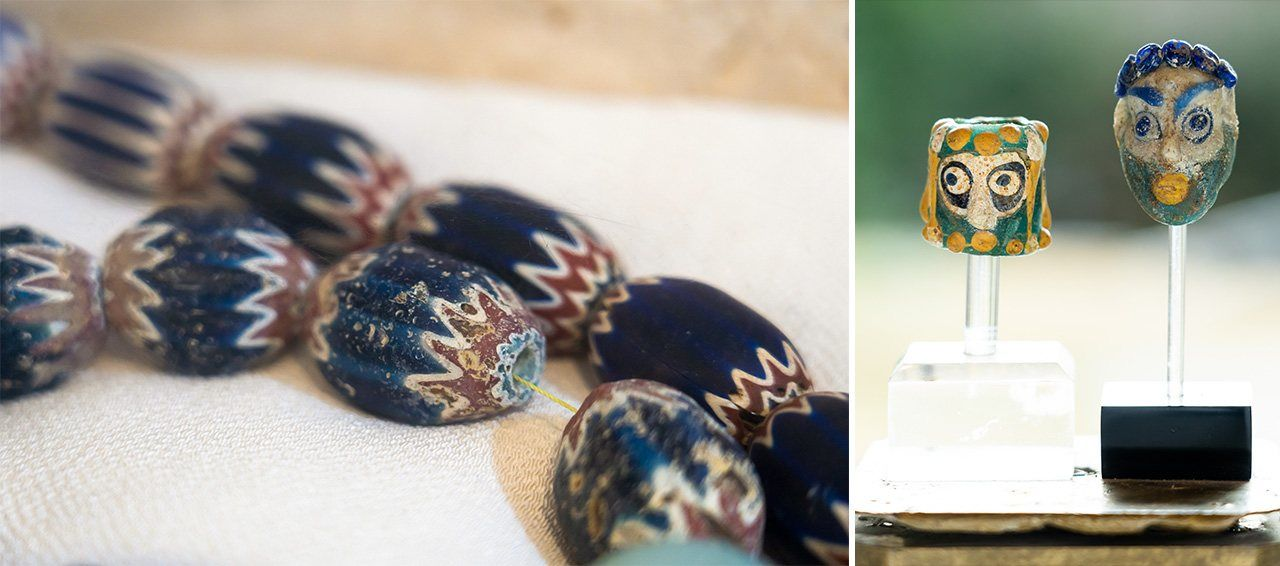 Venetian rosetta beads form an elegant necklace (left); the Phoenician beads at right are the oldest in Itchiku's collection, dating back some 25 centuries.