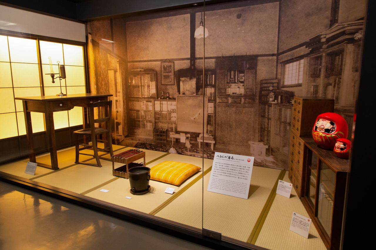 A study where Hearn worked when he lived in Nishi-Ōkubo, Tokyo, is reproduced here with his own personal belongings.