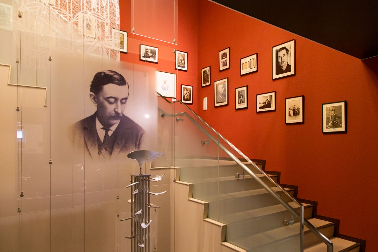This staircase is adorned with rare photographs and artworks inspired by Hearn.