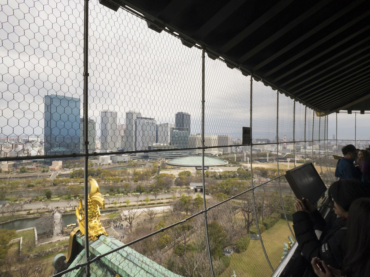 A walkway goes all around the eighth floor, offering panoramic views of Osaka.