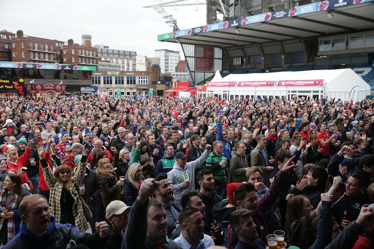 A Fanzone at the 2015 World cup in England. The 15 venues at the tournament welcomed around 1 million attendees. (Courtesy Rugby World Cup 2019 Organizing Committee)