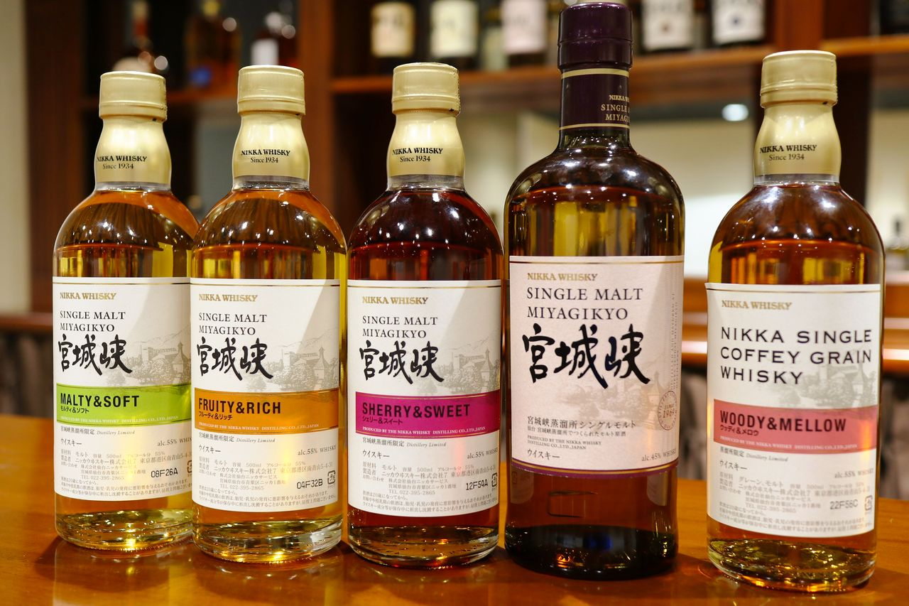 Fruity single malt Miyagikyō whiskies. Some are only sold at the distillery in Sendai. (Courtesy Sendai Nikka Service)