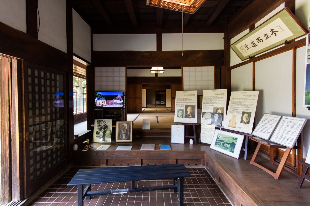 A display of historical materials in the entrance to the main house. A guide is available free of charge for group bookings of 10 persons or more.