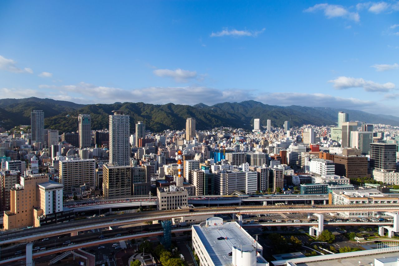 Central Kobe seen from Kobe Port Tower. The Rokkō Mountain Range is visible in the distance.