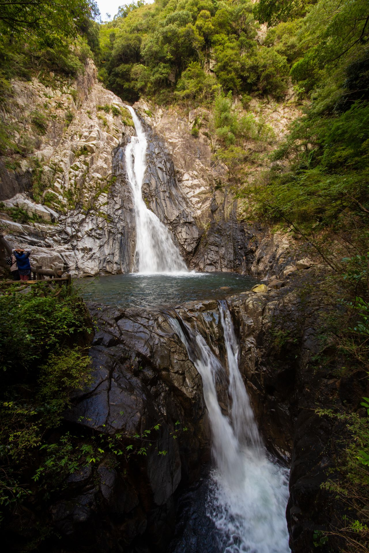 Ontaki (top) and the twin Meotodaki falls.