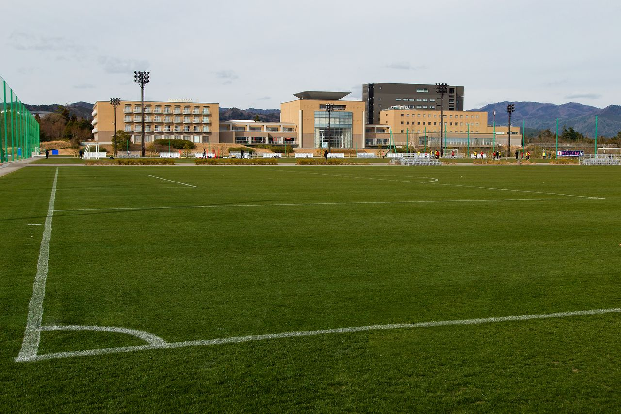 One of several natural grass pitches at the J-Village.