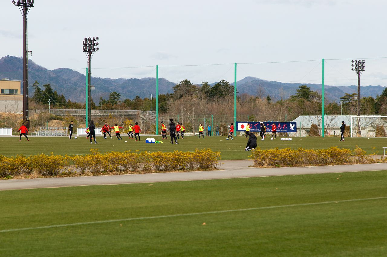 The women's national soccer team, Nadeshiko Japan, during a recent practice session at the facility.