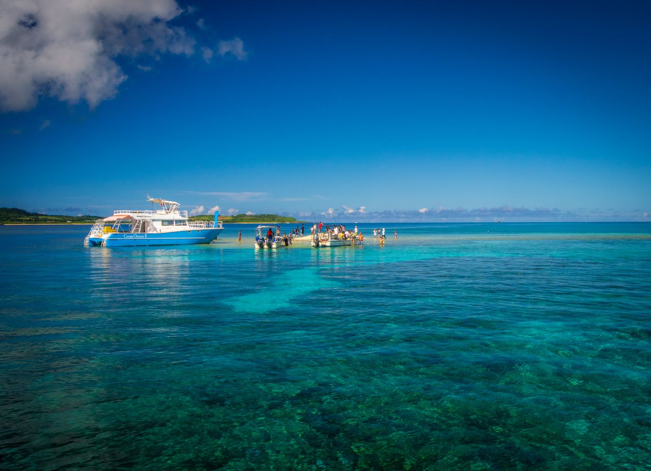 Barasu Island, formed from pieces of coral, is a popular attraction for snorkelers. (Courtesy OCVB)