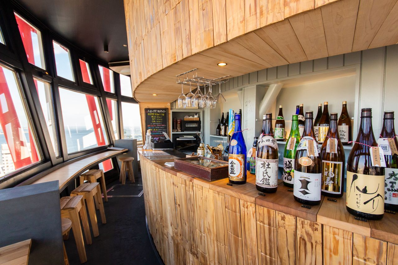 The Sake Taru Lounge, in one of Kobe's most popular tourist attractions, features top local sake brands.