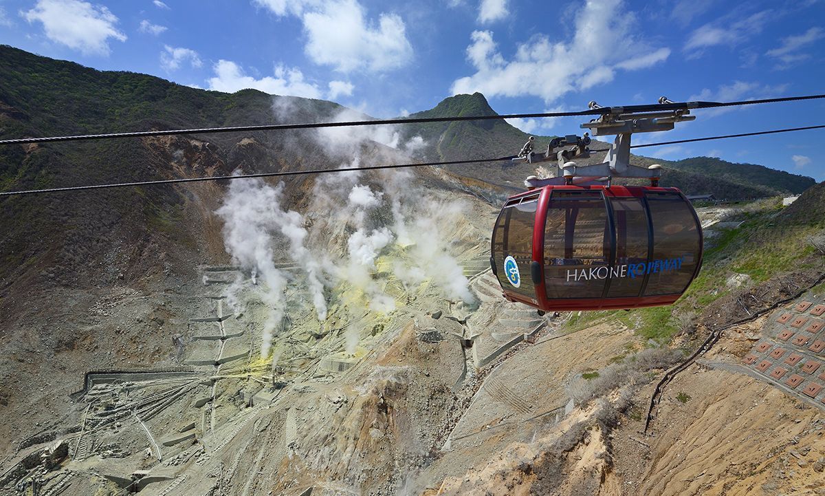The Hakone Ropeway, seen here passing above Ōwakudani, is a popular attraction with visitors to the area. (Courtesy of Odakyū Agency)