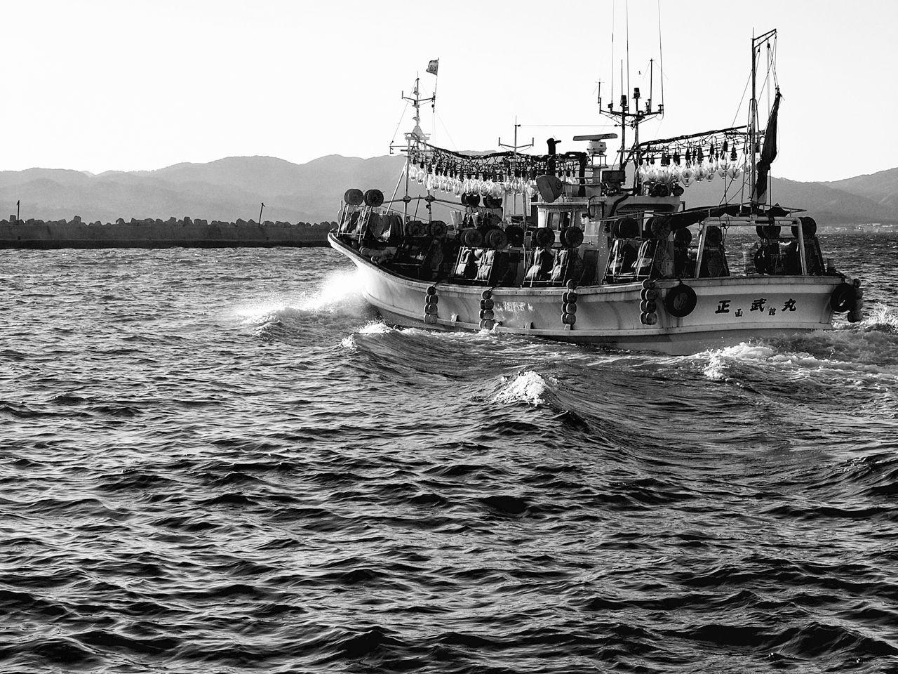 Sebuah perahu cumi-cumi berangkat ke tempat memancing. (2005)