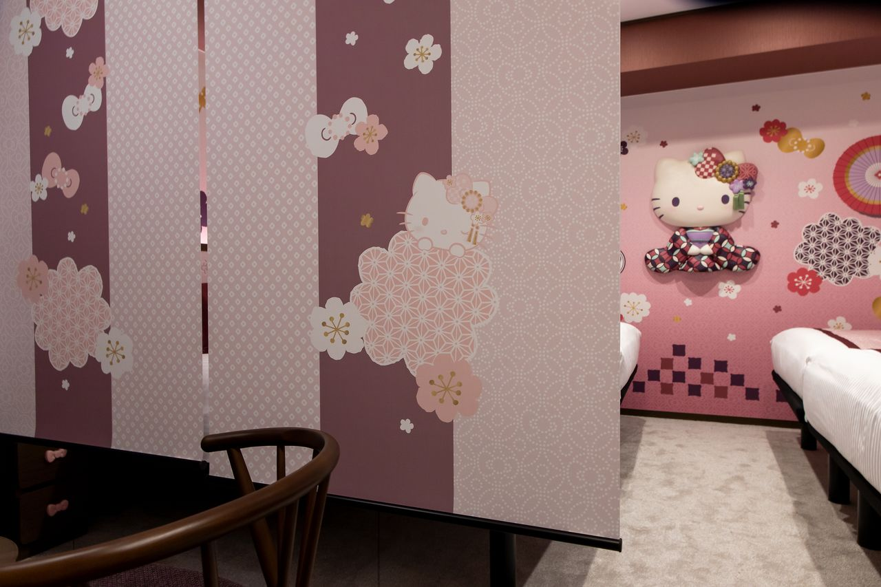 Hello Kitty motifs on the room dividers.