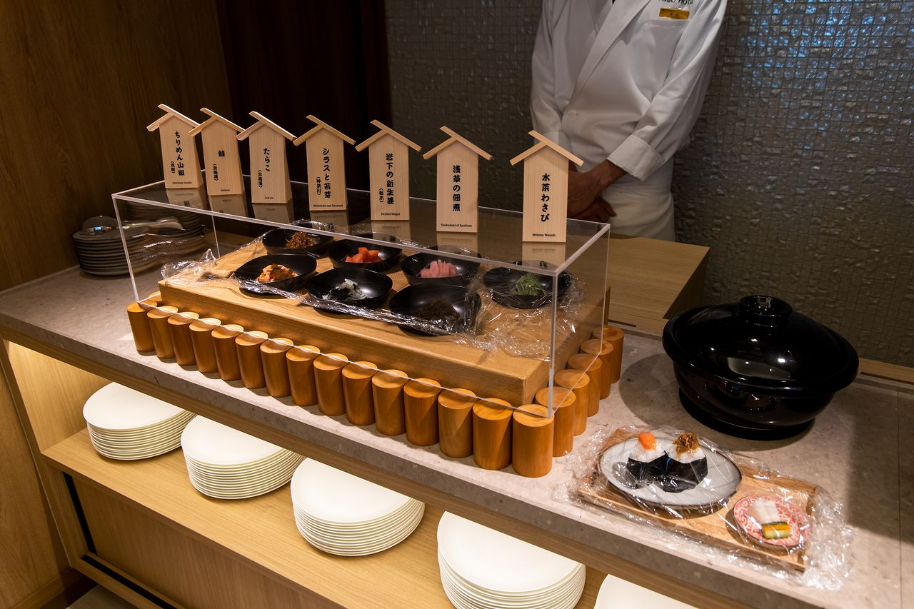 Breakfast buffet of onigiri rice balls. Guests can choose from a variety of delicious fillings ranging from conventional salmon and cod roe to Asakusa tsukudani, a fish-based paste, and other local specialties.