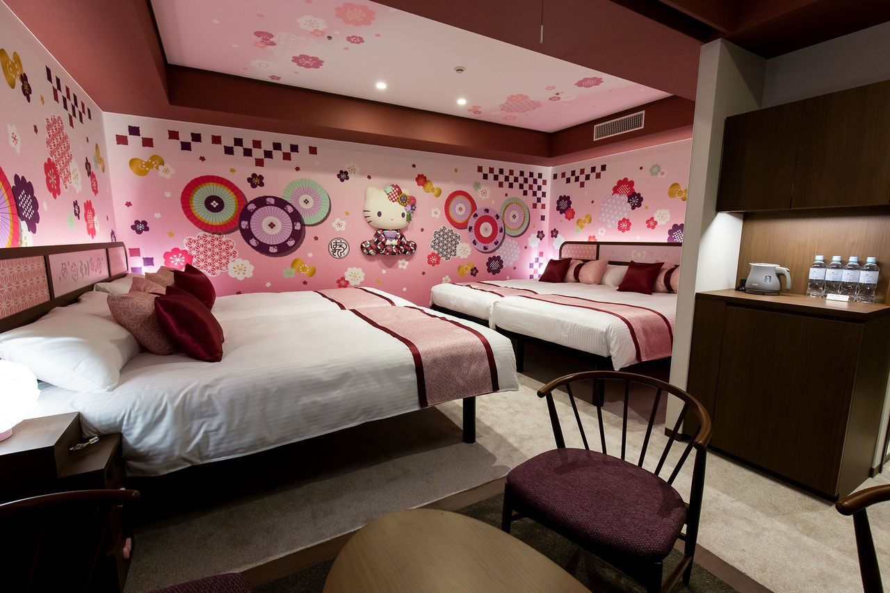 The Wa-Modern room is decorated with circles of Japanese umbrellas and other traditional motifs.