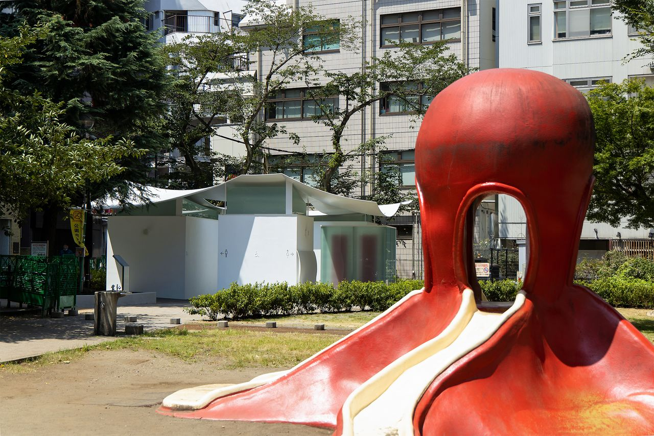 "The public restrooms at Ebisu East Park were designed by 1993 Pritzker Prize winner Maki Fumihiko. The squid-like appearance was inspired by the ground's nickname, ""octopus park."""