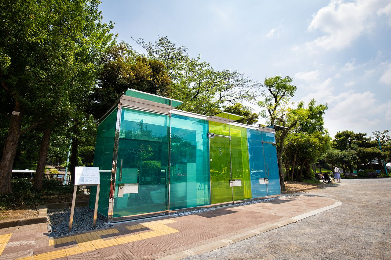 "Ban chose a ""cool"" color scheme for the restroom at Haru no Ogawa Community Park, while the facility at Yoyogi Fukamachi Minipark boasts a ""warm"" motif."