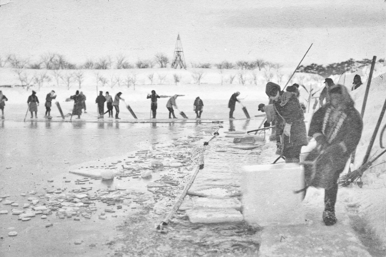 Cutting ice from Goryōkaku's moat in the Meiji era. (Courtesy of the Hakodate City Central Library)