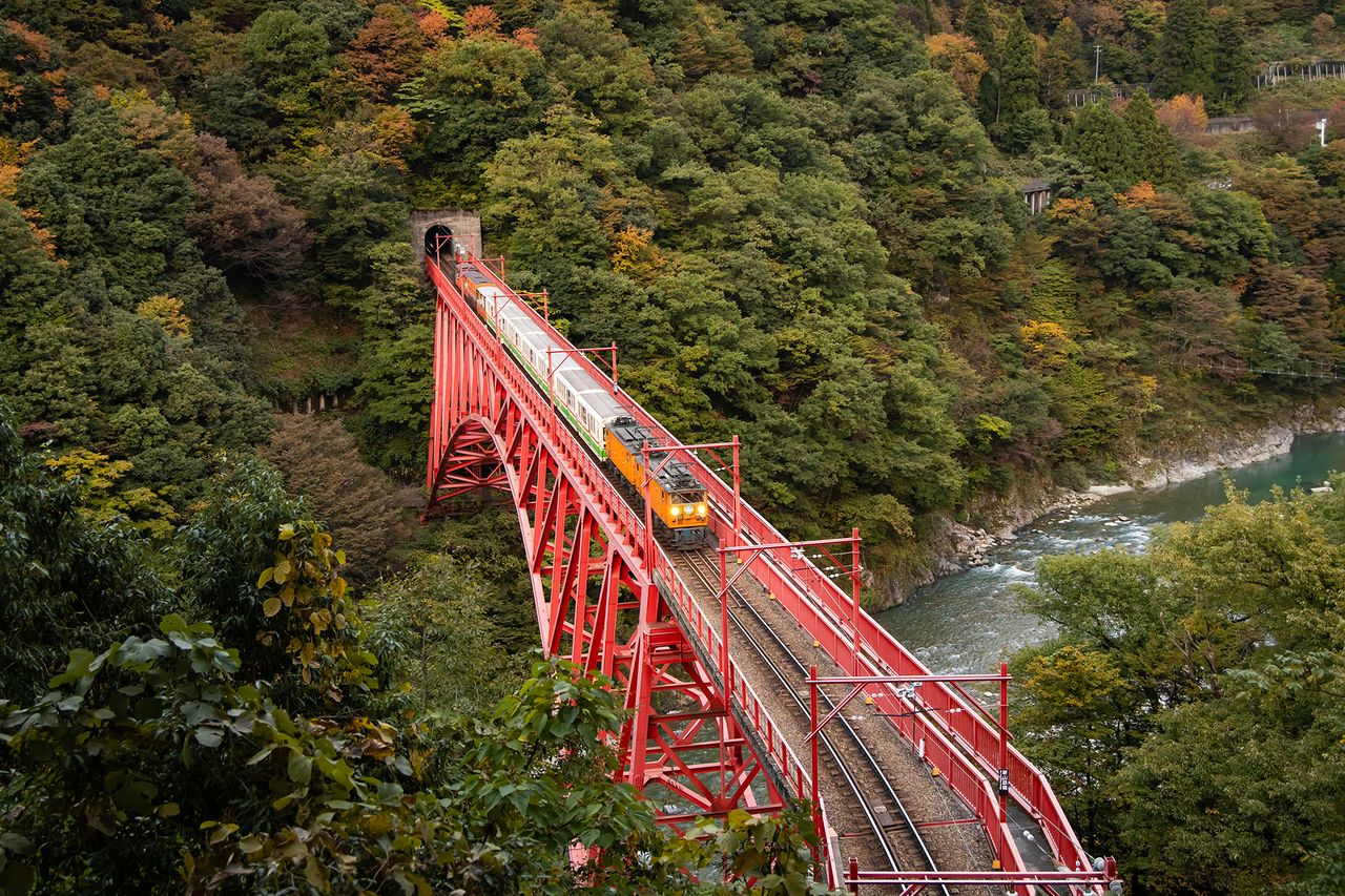 A view of the train from the Yamabiko lookout.