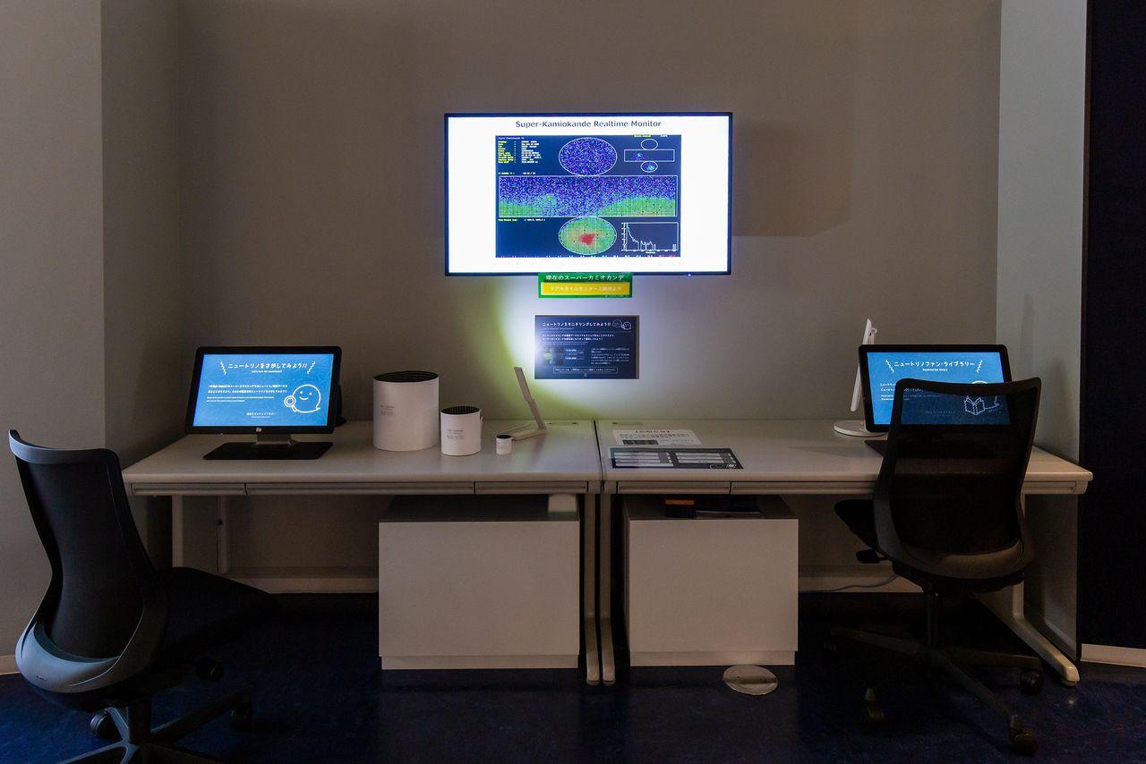KamiokaLab menampilkan data dari pengamatan yang dilakukan oleh Super Kamiokande secara real time.