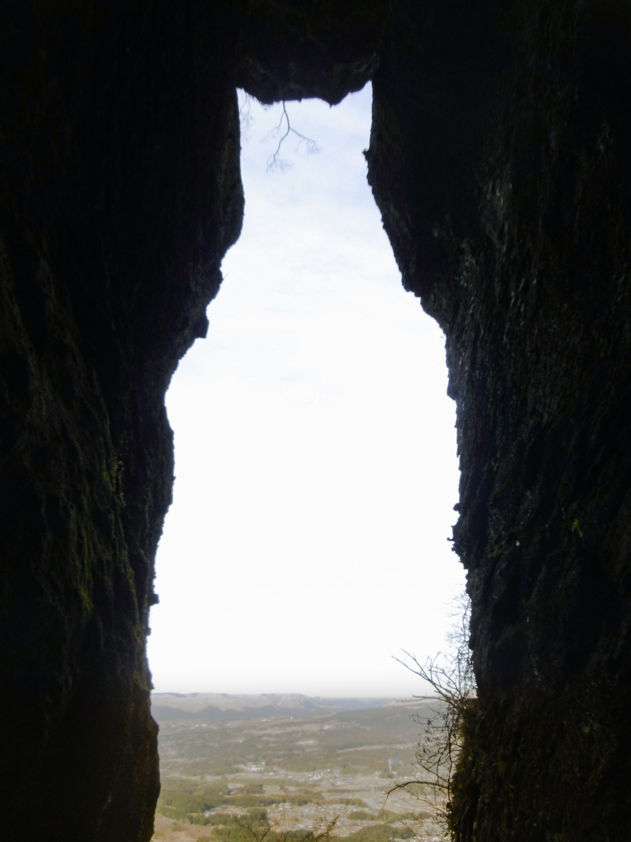 The cavern's opening resembles a cat looking out over Minamiaso.