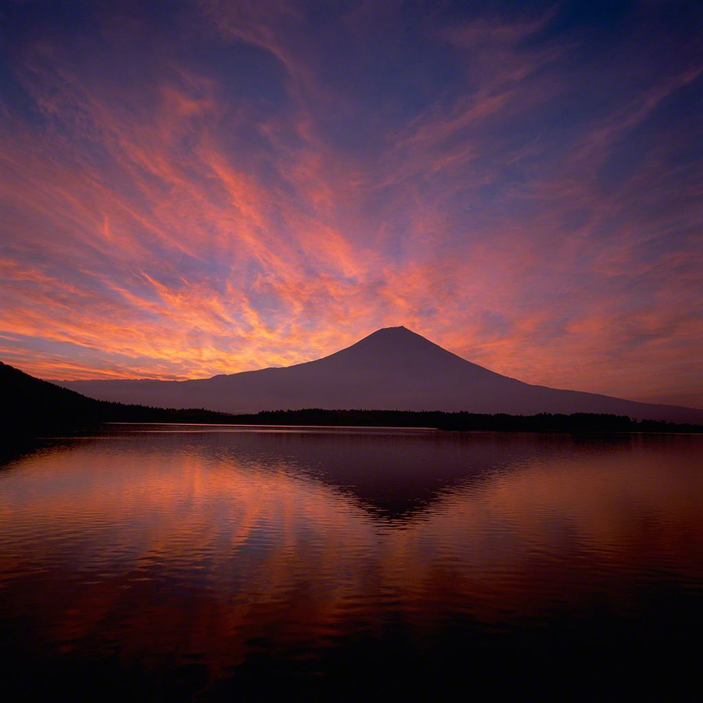 Mount Fuji reflected in Lake Tanuki (August)