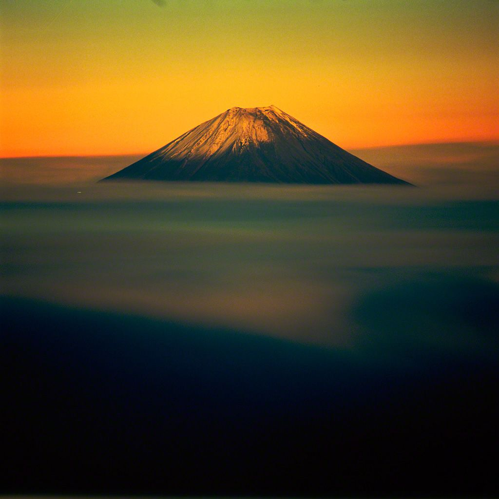 Mount Fuji in the morning glow (November)