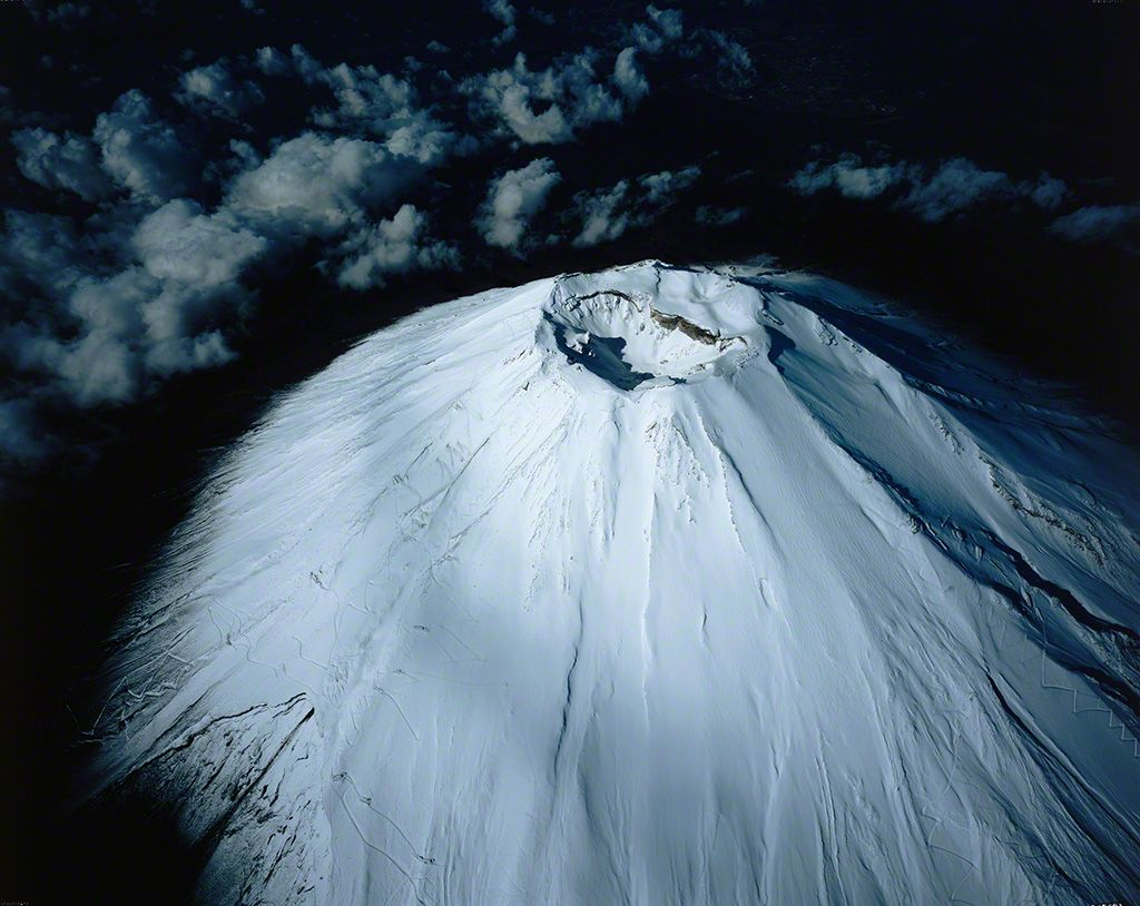 Aerial view of snowcapped crater of Mount Fuji (December)