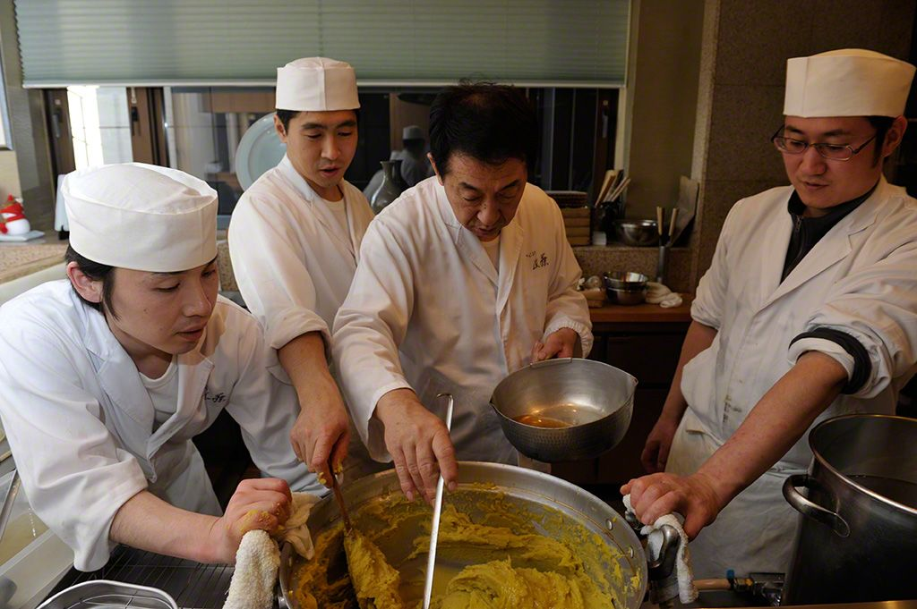 "Preparing the chestnuts and sweet potato ""kinton"" takes many hours of work, and requires the help of several chefs."