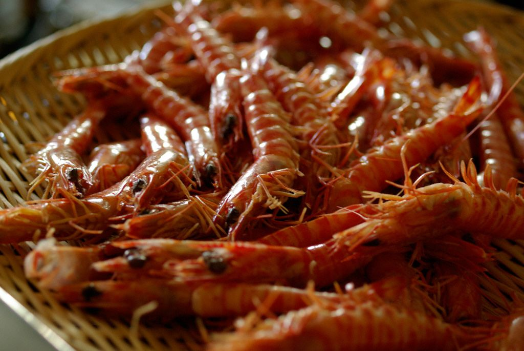 The shrimp are briefly boiled while still alive and then simmered to avoid shrinkage.