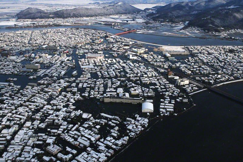 The tsunami left huge stretches of the city underwater.
