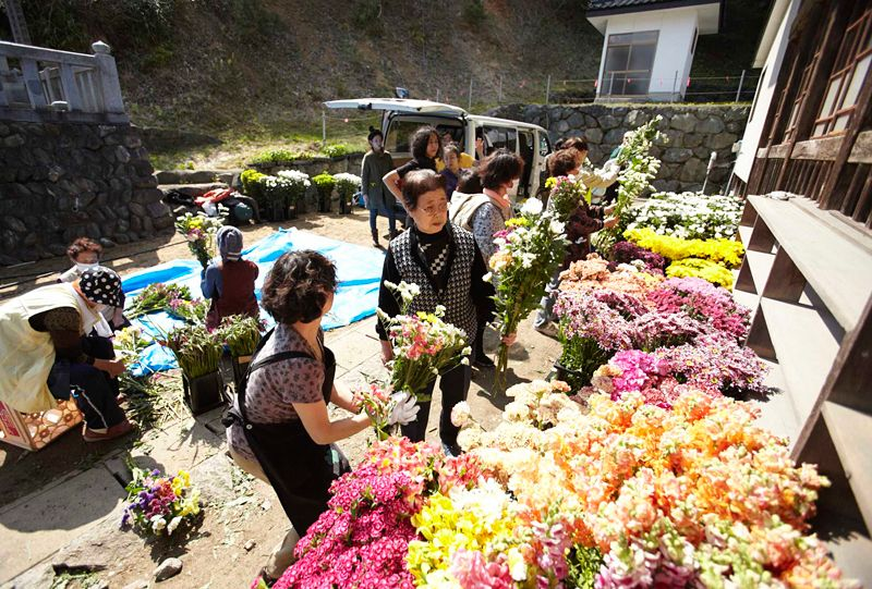 Flowers donated for a mass funeral ceremony held 49 days after the March 11 disaster. Volunteers brought huge numbers of flowers that they had collected in Tokyo.