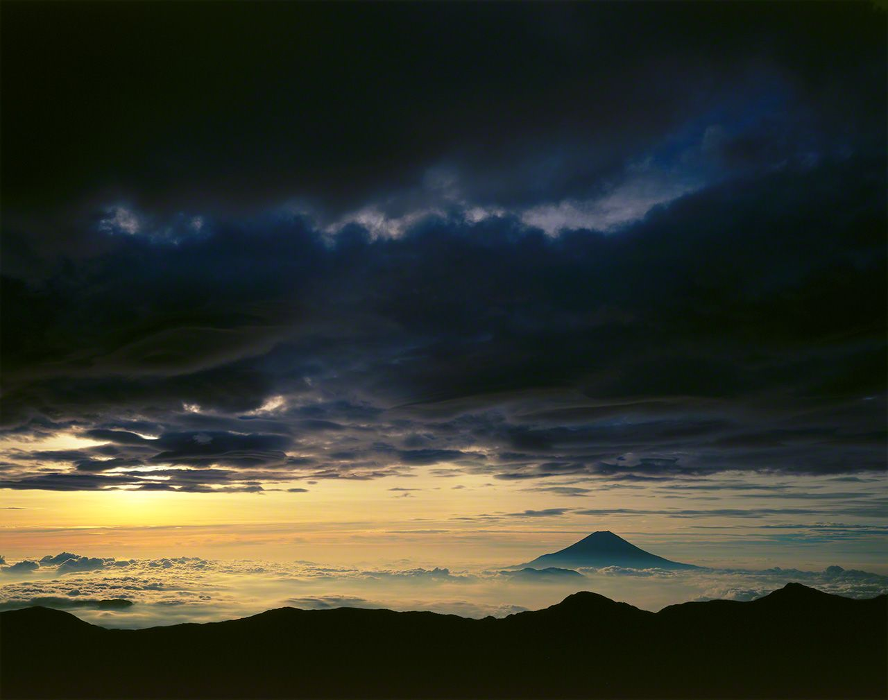 Mount Fuji as seen from Mount Akaishi in the Southern Alps.