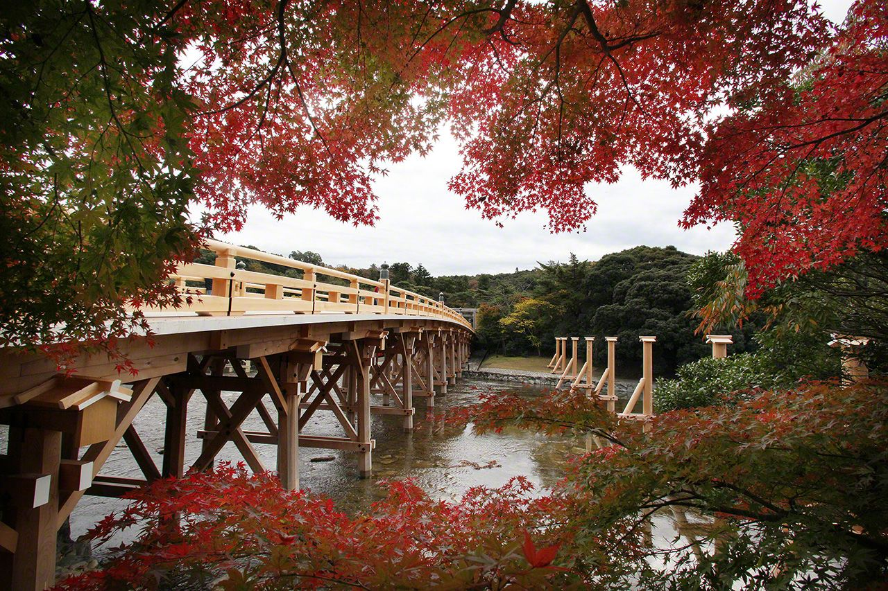 November 19 The Uji Bridge in fall foliage. The bridge marks the boundary between the sacred and profane worlds.