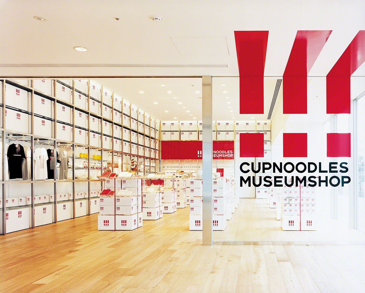 The museum shop at the Cup Noodles Museum. Satō also designed many of the goods sold there.